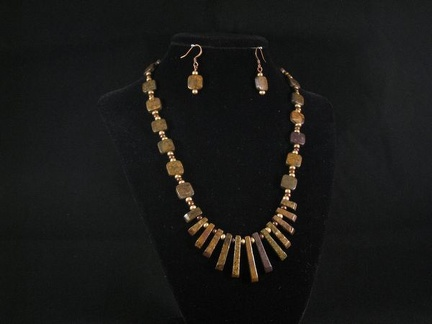 Bronzite with matte brown and brass glass accents - 18""