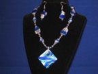 Cobalt & Silver Foil Art Glass set - 17""