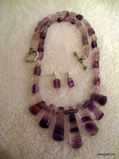 "Purple Rainbow Fluorite - 18"" with matching earrings"