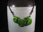 Sun and Moons - Green Variscite, copper and leather - 20""