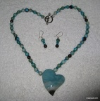 Russian Amazonite Heart Shaped Pendant - 17""
