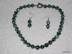 Blue/Green glass bead necklace