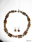 Bronzite Necklace and earring set - 18""