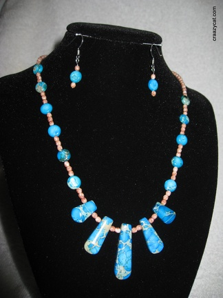 Blue Variscite necklace and earring set - 17""