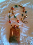 Orange Green and Gold Jasper Pendant