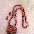 Rhodonite pendant with Rhodochrosite chip beads