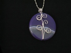 Wire Wrapped Round Purple Onyx - Blue Tones