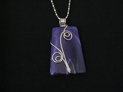 Wire Wrapped Purple Onyx Agate - Blue Tones