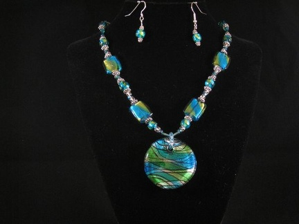 Blue & Green Foil Art Glass Necklace and Earring set - 17""