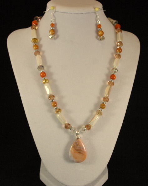 Fire Crab Agate Crystal and mother of pearl