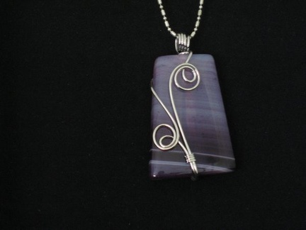 Wire Wrapped Purple Onyx Agate - pinker tones