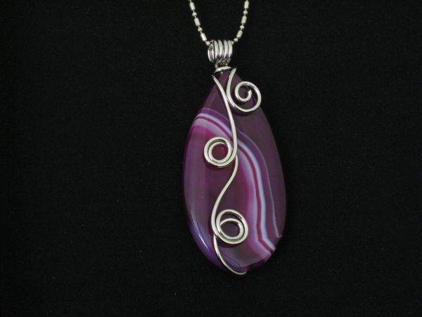 Wire Wrapped Purple Onyx - Pinker Tones